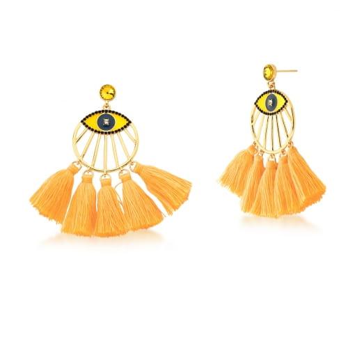 Brinco Dourado Tassel Redondo Olho Esmaltado com Franja Amarelo