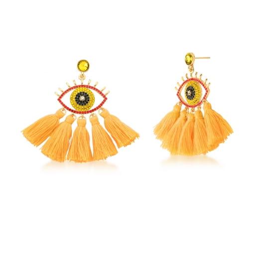 Brinco Dourado Tassel de Olho Vermelho e Cinco Franjas Amarelo