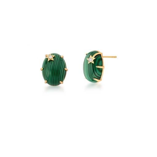 Brinco Oval com Pedra Malaquita Verde e Estrela Banhado a Ouro