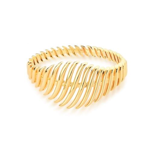 Bracelete Curvo Vazado e Liso Banhado a Ouro