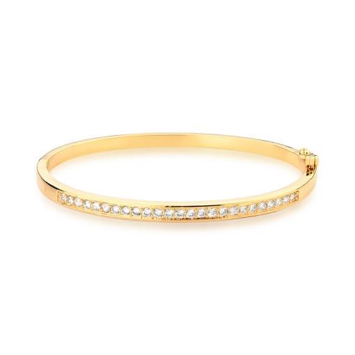 Bracelete com Uma Fileira de Zircônias Brancas Banhado a Ouro
