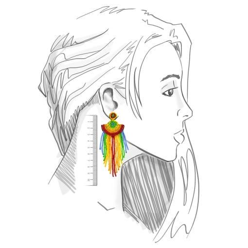 Brinco Bijuteria Pêndulo Leque com Missangas Coloridas
