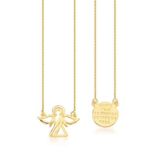 Escapulário com Pingentes Divino Espírito Santo Banhado a Ouro