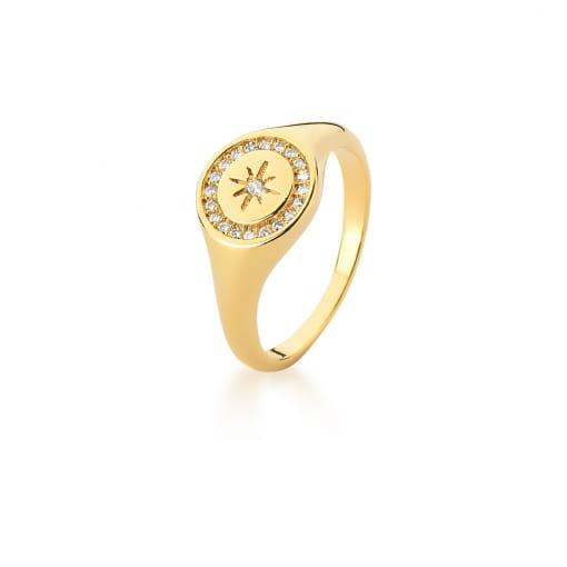 Anel Dedo Mínimo Redondo com Estrela Branca Banhado a Ouro