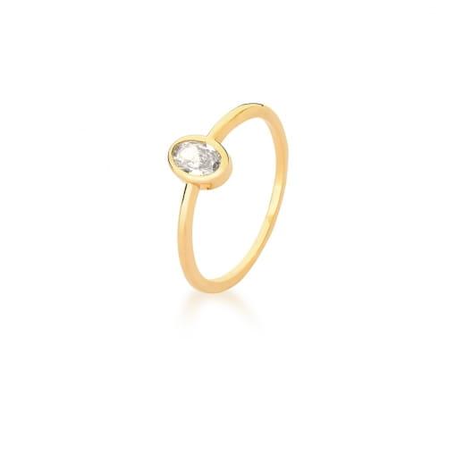 Anel com Cristal Oval Branco Banhado a Ouro