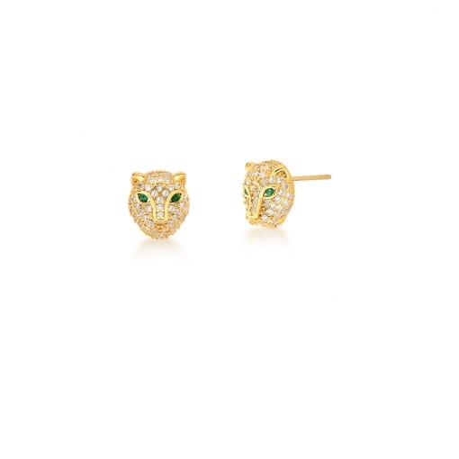 Brinco de Leopardo com Zircônias Brancas Banhado a Ouro