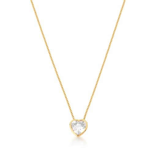 Corrente com Pingente Cristal Coração Branco Banhada a Ouro