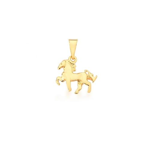 Pingente de Cavalo Liso Banhado a Ouro