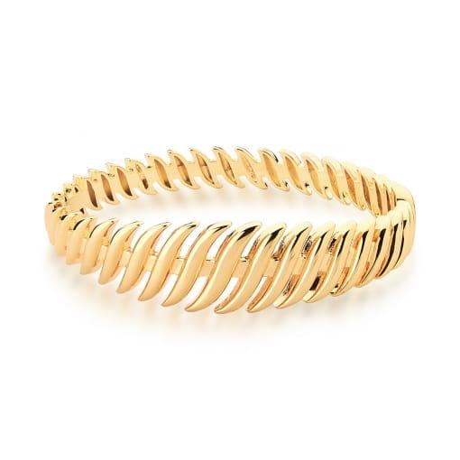 Bracelete com Fileiras Curvas e Lisas Banhado a Ouro