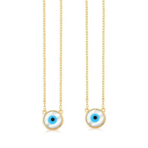 Escapulário com Pingentes de Olhos Gregos Banhado a Ouro