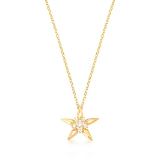 Corrente com Pingente de Estrela Branca Banhada a Ouro