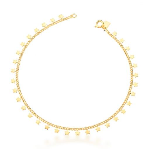 Tornozeleira com Estrelas Lisas Banhada a Ouro