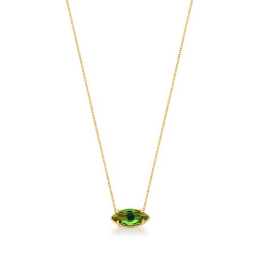 Corrente com Pingente Olho Cristal Verde Banhada a Ouro