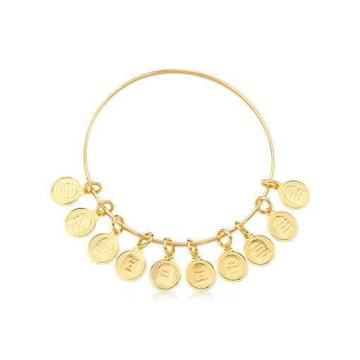 Bracelete com Pingentes Dez Mandamentos Lisos Banhado a Ouro