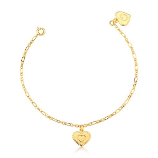 Tornozeleira com Pingente de Coração Liso Banhada a Ouro