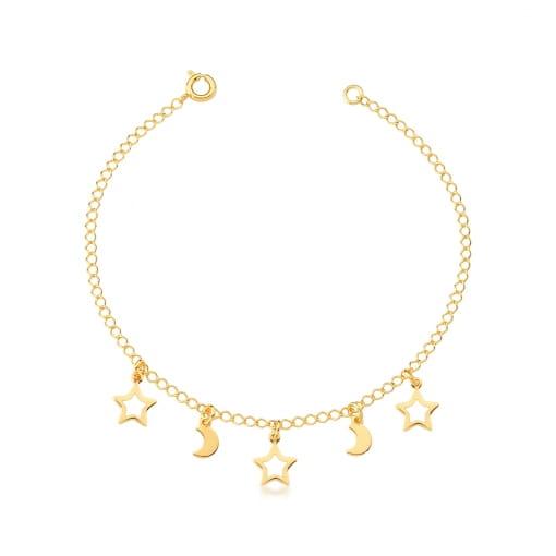 Tornozeleira com Pingentes Estrelas e Luas Lisos Banhada a Ouro