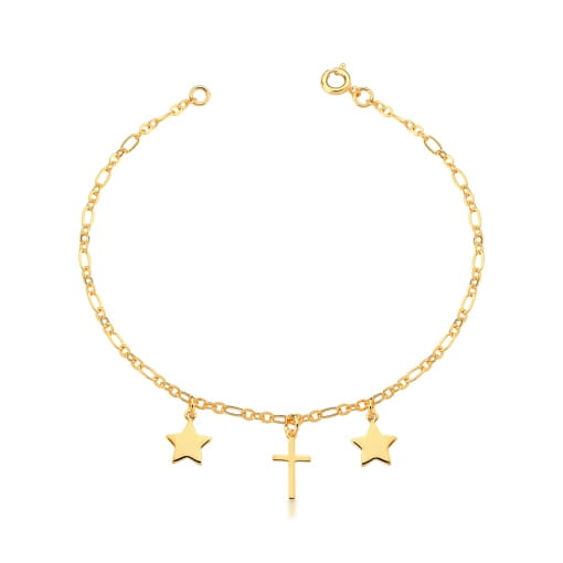 Tornozeleira com Pingentes de Estrelas e Cruz Banhada a Ouro