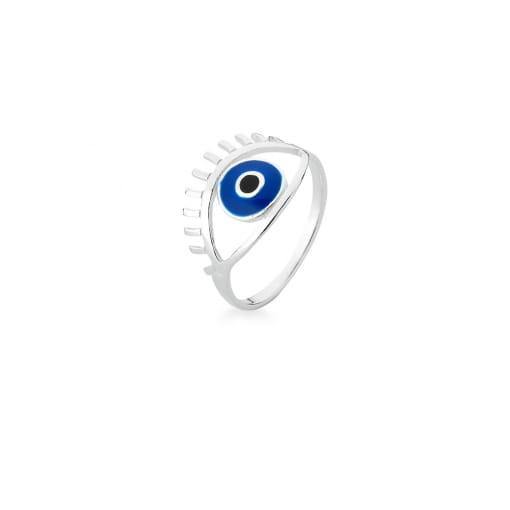 Anel de Olho Vazado e Esmaltado Azul Prata Lisa