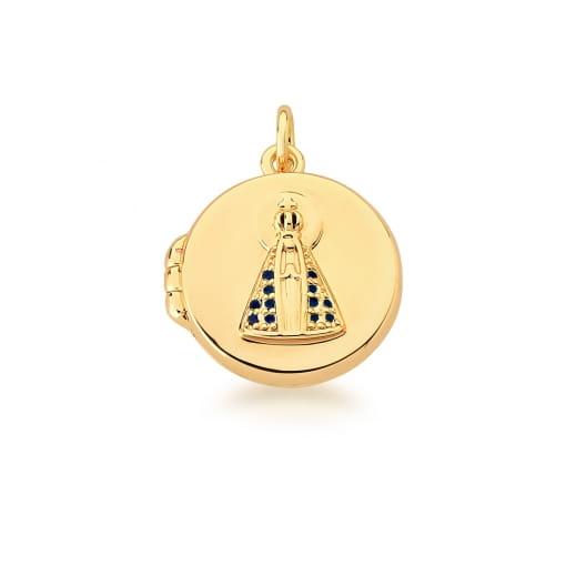 Pingente Relicário Imagem Nossa Senhora Aparecida Banhado a Ouro