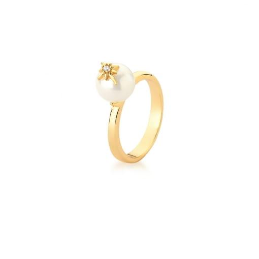 Anel com Pérola e Estrela Branca Banhado a Ouro
