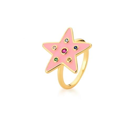 Anel de Estrela Esmaltado Rosa e Colorido Banhado a Ouro