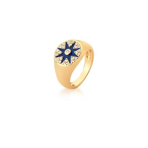 Anel Dedo Mínimo Estrela Esmaltada Azul Escuro Banhado a Ouro