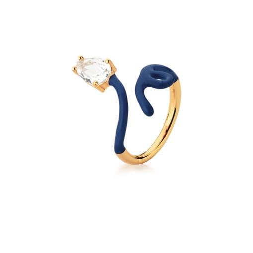 Anel Regulável Curvo Esmaltado na Cor Azul Escuro Banhado a Ouro