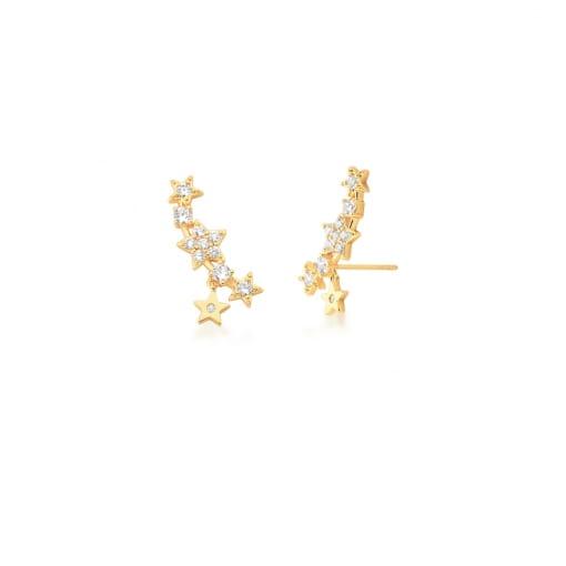 Brinco Ear Cuff com Estrelas e Zircônias Brancas Banhado a Ouro