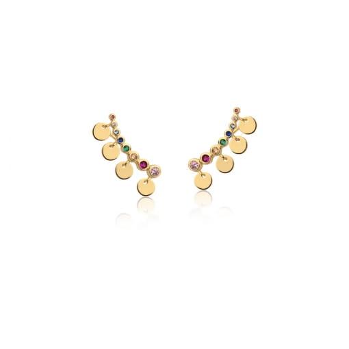Brinco Ear Cuff com Zircônias Coloridas Banhado a Ouro