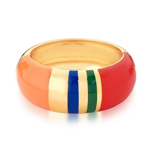 Bracelete Esmaltado Colorido Banhado a Ouro