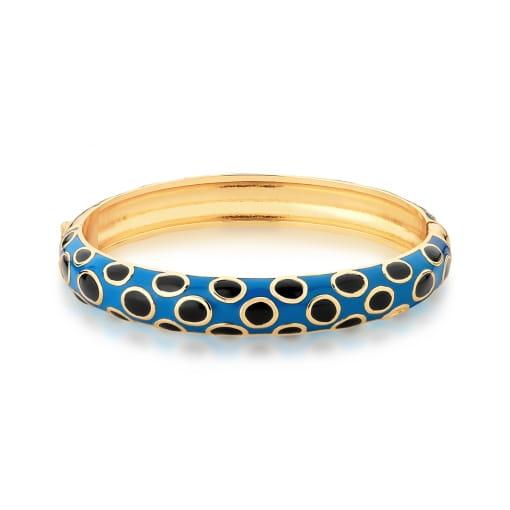 Bracelete Esmaltado Azul e Preto Banhado a Ouro