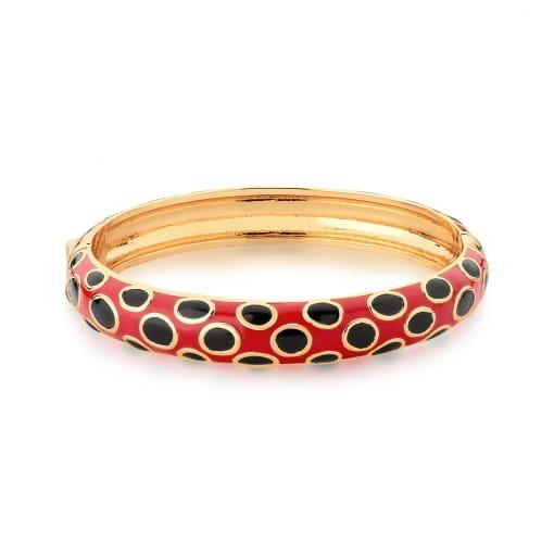 Bracelete Esmaltado Vermelho e Preto Banhado a Ouro