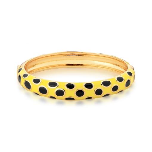 Bracelete Esmaltado Amarelo e Preto Banhado a Ouro