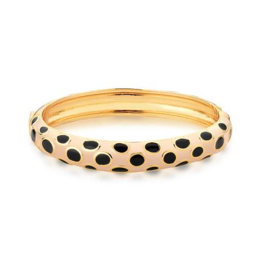 Bracelete Esmaltado Bege e Preto Banhado a Ouro