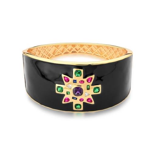 Bracelete Esmaltado Preto com Flor Colorida Banhado a Ouro