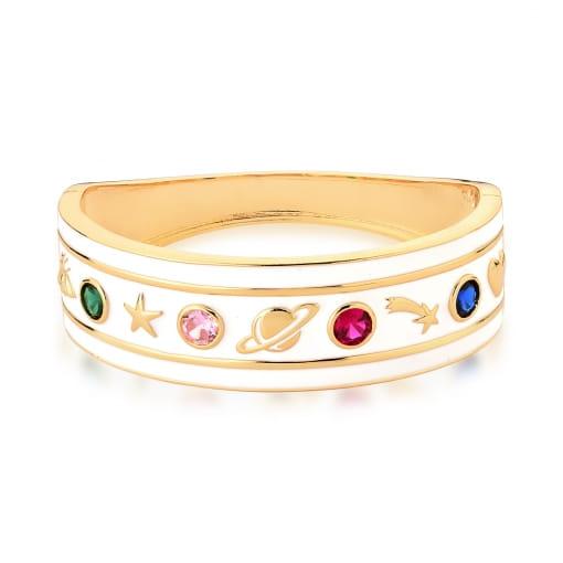 Bracelete Esmaltado Branco com Cristais Coloridos Banhado a Ouro