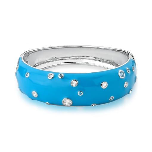 Bracelete Esmaltado Azul com Zircônias Banhado a Ródio