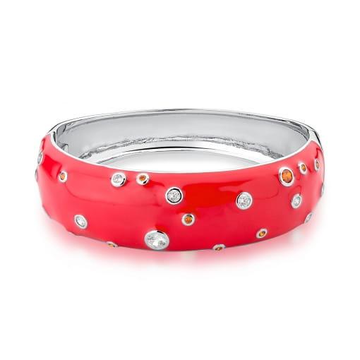 Bracelete Esmaltado Vermelho com Zircônias Banhado a Ródio