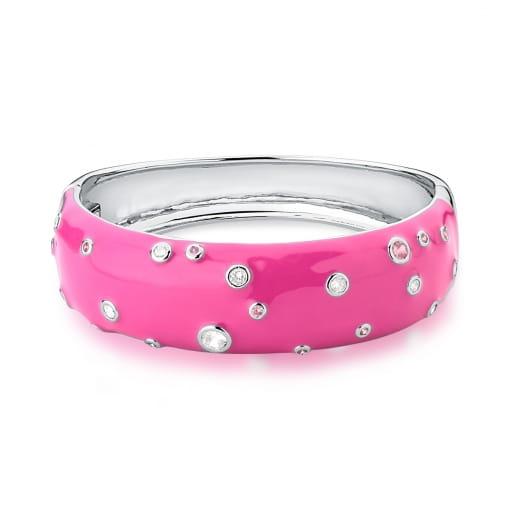Bracelete Esmaltado Rosa com Zircônias Banhado a Ródio