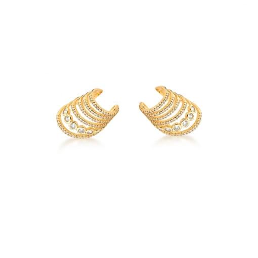 Piercing de Orelha com Seis Fileiras Brancas Banhado a Ouro