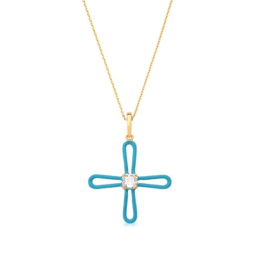 Corrente com Pingente Cruz Esmaltada Azul Claro Banhada a Ouro