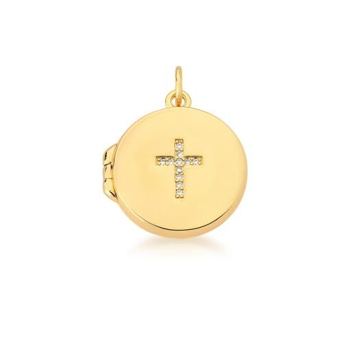 Pingente Relicário Redondo com Cruz e São Bento Banhado a Ouro
