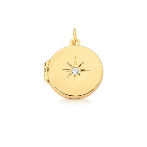 Pingente Relicário Redondo com Estrela Branca Banhado a Ouro