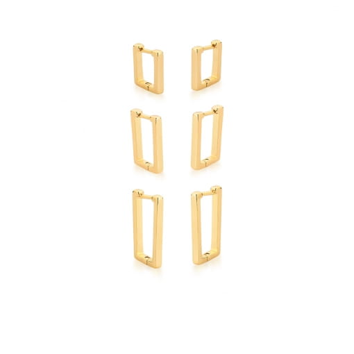 Kit Três Pares de Argola Retangulares Lisos Banhada a Ouro