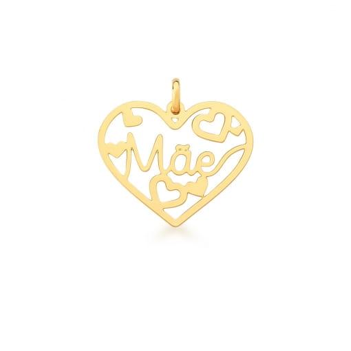 """Pingente de Coração com Escrita """"Mãe"""" Liso Banhado a Ouro"""