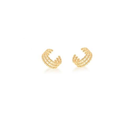 Piercing de Orelha Três Fileiras Bolinhas Lisas Banhada a Ouro