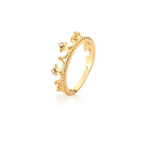 Anel Coroa Regulável com Zircônias Brancas Banhado a Ouro