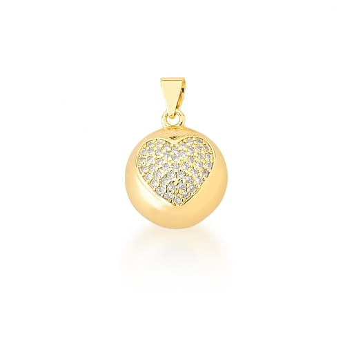 Pingente Redondo com Imagem de Coração Branco Banhado a Ouro