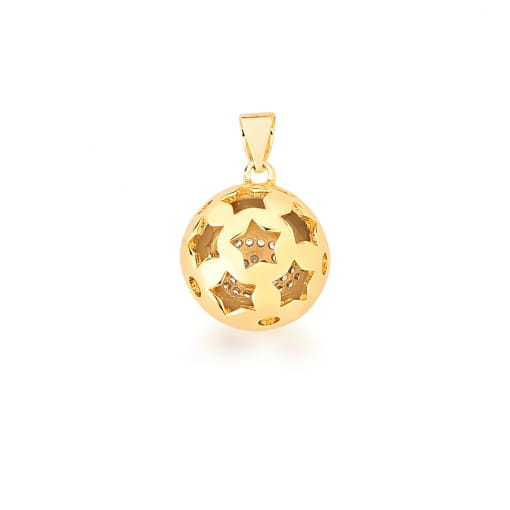 Pingente Redondo com Imagem de Estrela Branca Banhada a Ouro