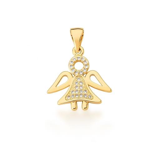 Pingente de Anjo com Zircônias Brancas Banhado a Ouro